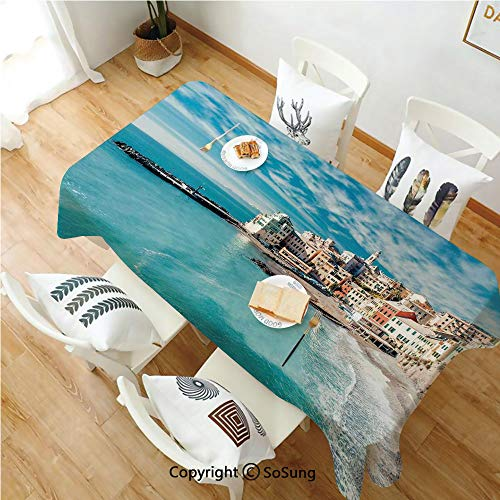 Farm House Decor Rectangle Polyester Tablecloth,Panorama of Old Italian Fish Village Beach Old Province Coastal Charm Image,Dining Room Kitchen Rectangle Table Cover,70W X 120L inches,Turquoise