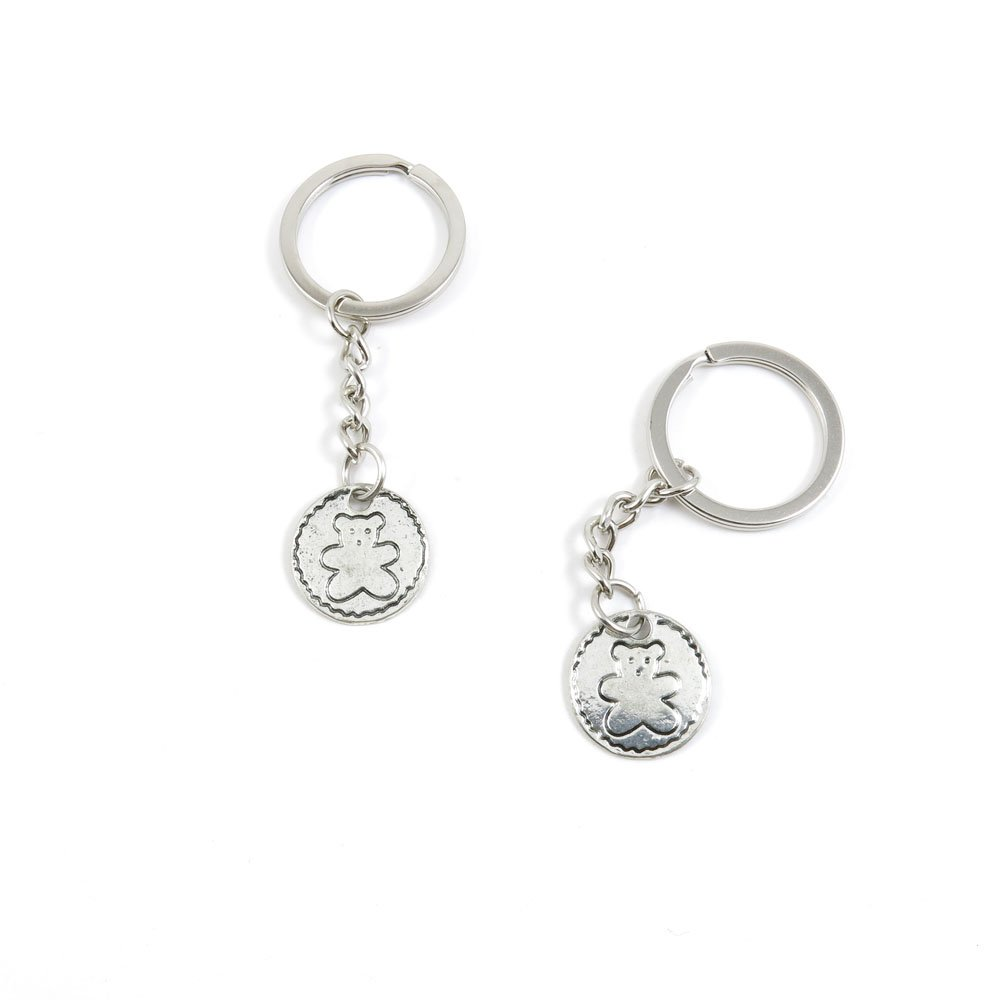 100 Pieces Keychain Door Car Key Chain Tags Keyring Ring Chain Keychain Supplies Antique Silver Tone Wholesale Bulk Lots Y5CE1 Bear Winnie Sign