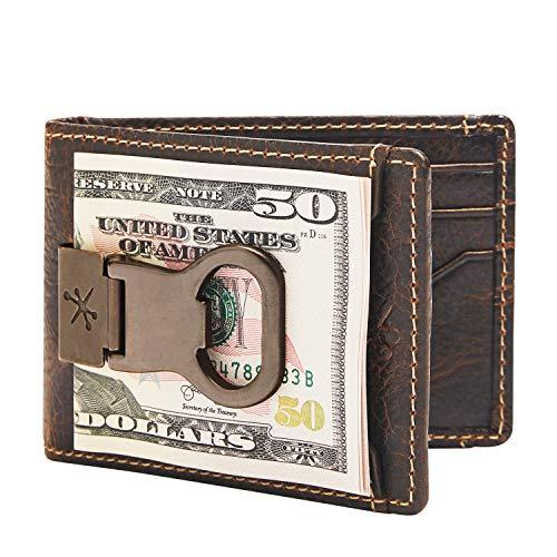 Money Clip Bottle Opener - HOJ Co. Bottle Opener Front Pocket Wallet-Full Grain Leather-ID Bifold Money Clip Wallet