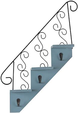 Baldas flotantes de pared Estante de pared Estante flotante, Forma de escalera Estante de almacenamiento colgante de pared Estante de almacenamiento de decoración de pared con 3 ganchos Adornos colgan: Amazon.es: Hogar