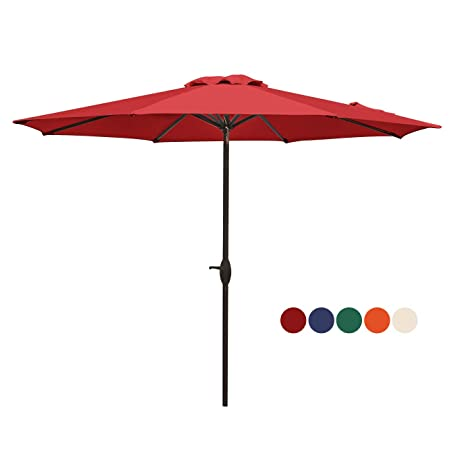HASLE OUTFITTERS Patio Umbrella 9FT Table Umbrella Outdoor Market Umbrella with Tilt Adjustment and Crank Lift System Red