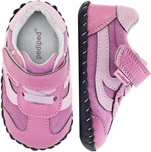 (pediped Originals, Cliff Pink Sneaker, Slip Resistant, All Leather Soft-Sole, Man-Made and Microfiber Upper, Genuine Leather Lining, Faux Laces, Adjustable Hook-and-Loop Velcro Closure Strap)