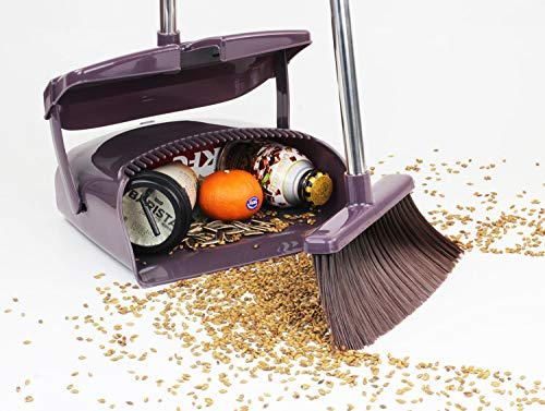Broom and Dustpan Set, Commercial Long Handle Sweep Set and Lobby Broom,Upright Grips Sweep Set with Broom for Home, Kitchen, Room, Office and Lobby Floor Dust Pan & Broom Combo, Black by Laixiu (Image #2)