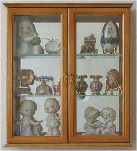 Oak Wall Curio Cabinet Display Case Shadow Box Home Accents For Figurines