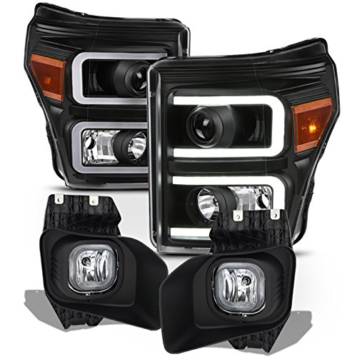 For 11 12 13 14 15 16 Ford F250 F350 F450 Super Duty LED Tube Projector Black Headlights w/Fog Lights