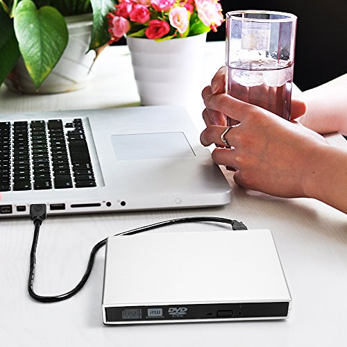 External CD DVD Drive, Blingco USB 2.0 Slim Protable External DVD-RW Drive CD-RW Burner Writer Player Laptop Notebook PC Desktop Computer, Silver by Blingco (Image #6)