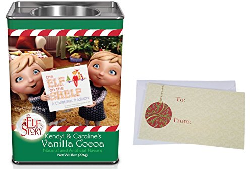 Hot Chocolate Gift For Christmas Holidays, Elf On The Shelf Chocolate Cocoa Mix, Kendyl & Caroline's Vanilla Cocoa, Chippey's Peppermint Cocoa, 8 Oz. Tin (Kendyl & Caroline's Vanilla Cocoa) ()