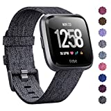 KIMILAR Compatible Fitbit Versa Bands, Women Men Large Small Woven Fabric Breathable Accessories Strap Compatible Fitbit Versa Smart Watch