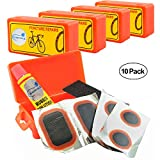 Lumintrail Bicycle Bike Tire Tube Repair Kit - 6 Rubber Patches + Sandpaper + Rubber Patch Cement, in Compact Portable Case (1 or Multiple Pack) (10 Pack)