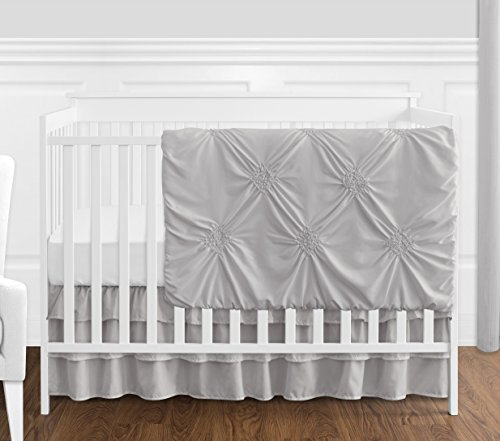 Crib Bedding Luxury Baby (Solid Color Grey Shabby Chic Harper Baby Girl Crib Bedding Set Without Bumper by Sweet Jojo Designs - 4 Pieces)