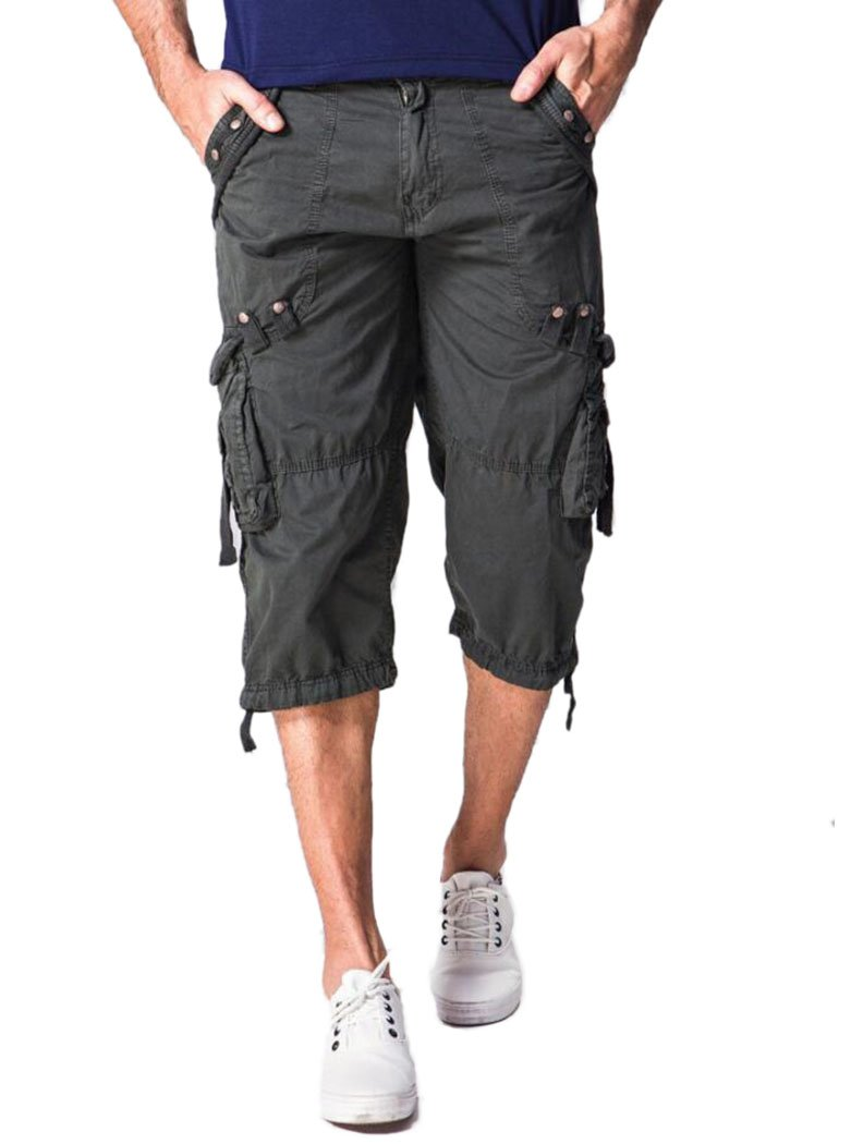 Amoystyle Men's Relaxed Fit Long Cargo Shorts Capri Pants Dark Gray Tag 32