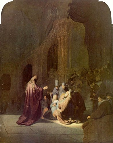 The Museum Outlet - Simeon in the temple by Rembrandt - Canvas Print Online Buy (24 X 32 Inch)