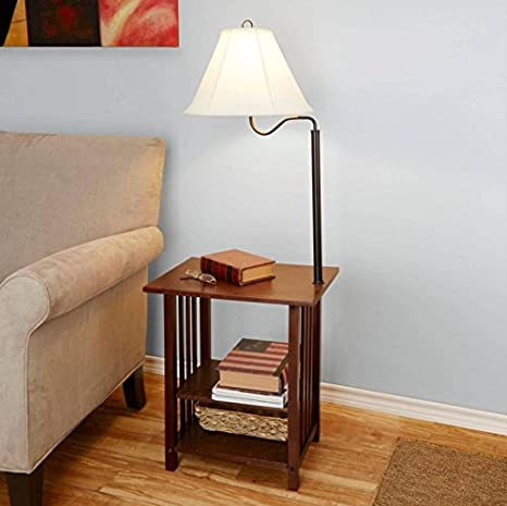 Combination Floor Lamp End Table With Shelves And Swing Arm Shade Use As A  Nightstand Or Magazine Rack By Sofa Or Bed Lamps     Amazon.com