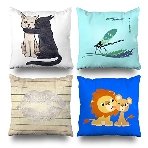 Soopat Decorativepillows Covers The Cute Kiss Series Set of 4, Throw Pillow Case Cushion Cover 18