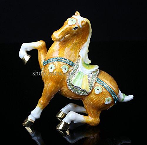 Horse. Pewter Trinket Box Pretty Horse Trinket Box Keepsake Collectible Bejeweled (8.5*4.3*9CM(L*W*H))