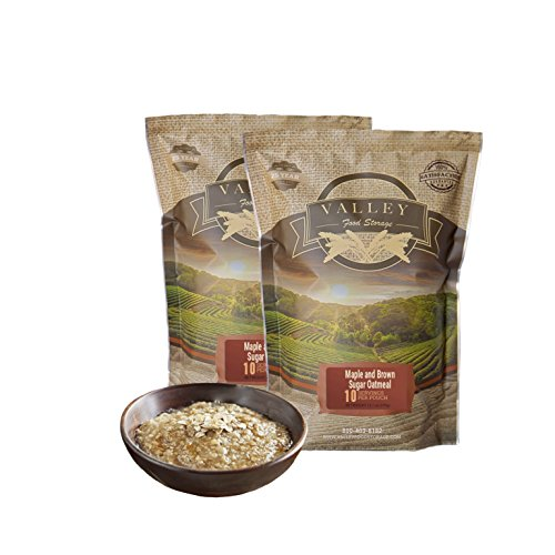 Valley Food Storage - Maple Brown Sugar Oatmeal Freeze Dried Meal - 100% Real Natural Food. Perfect for Camping, Emergency Preparedness, Travel - 2 Pack