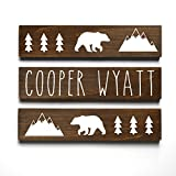 Personalized Baby Gift, Woodland Mountain Bear Lumberjack Nursery Decor, Name Sign, 3 piece set For Sale