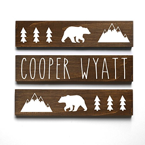 Personalized Baby Gift, Woodland Mountain Bear Lumberjack Nursery Decor, Name Sign, 3 piece set