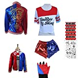 SUPETE Kids Girls Coat Shorts Tops Set Halloween Costume T-shirt Jacket Shorts Kids Sizes Cosplay Clothes For Childrens