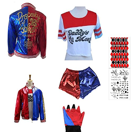 SUPETE Kids Girls Coat Shorts Tops Set Halloween Costume (S=110CM(4-6Years), Red/Blue Embroidered)