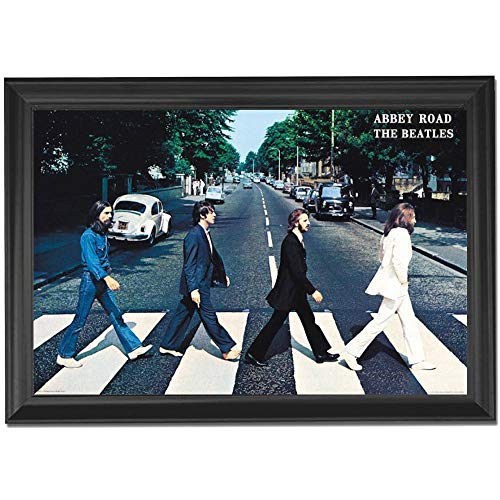 The Beatles Abbey Road Album Wall Art Decor Framed Print | 24x36 Premium (Canvas/Painting Like) Textured Poster | Rock Band Greatest Music Records & Hits | CD & Vinyl Cover Artwork Photo for Bedroom