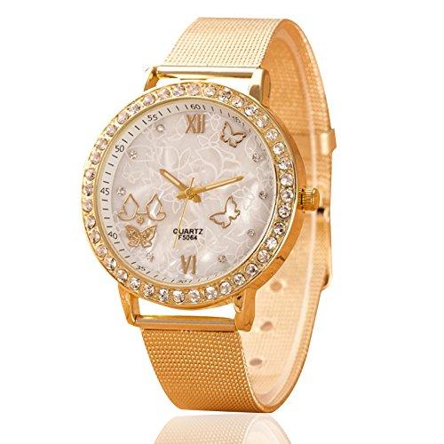 SODIAL Caliente Relojes de mariposa de mujeres Rhinestone reloj de pulsera AP