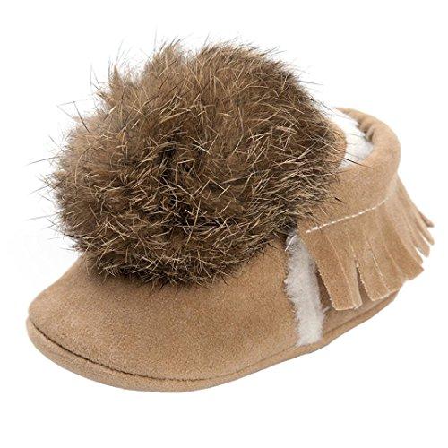 Clode® Baby Mädchen Jungen Ball Troddeln Warm halten Baumwolle gepolsterte Schuhe Sneaker rutschfeste Schuhe Beige