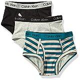 Calvin Klein Boys' Little Modern Cotton Assorted Briefs Underwear, Multipack, Sea Green Stripe, Heather Grey, Black, Small-6/7