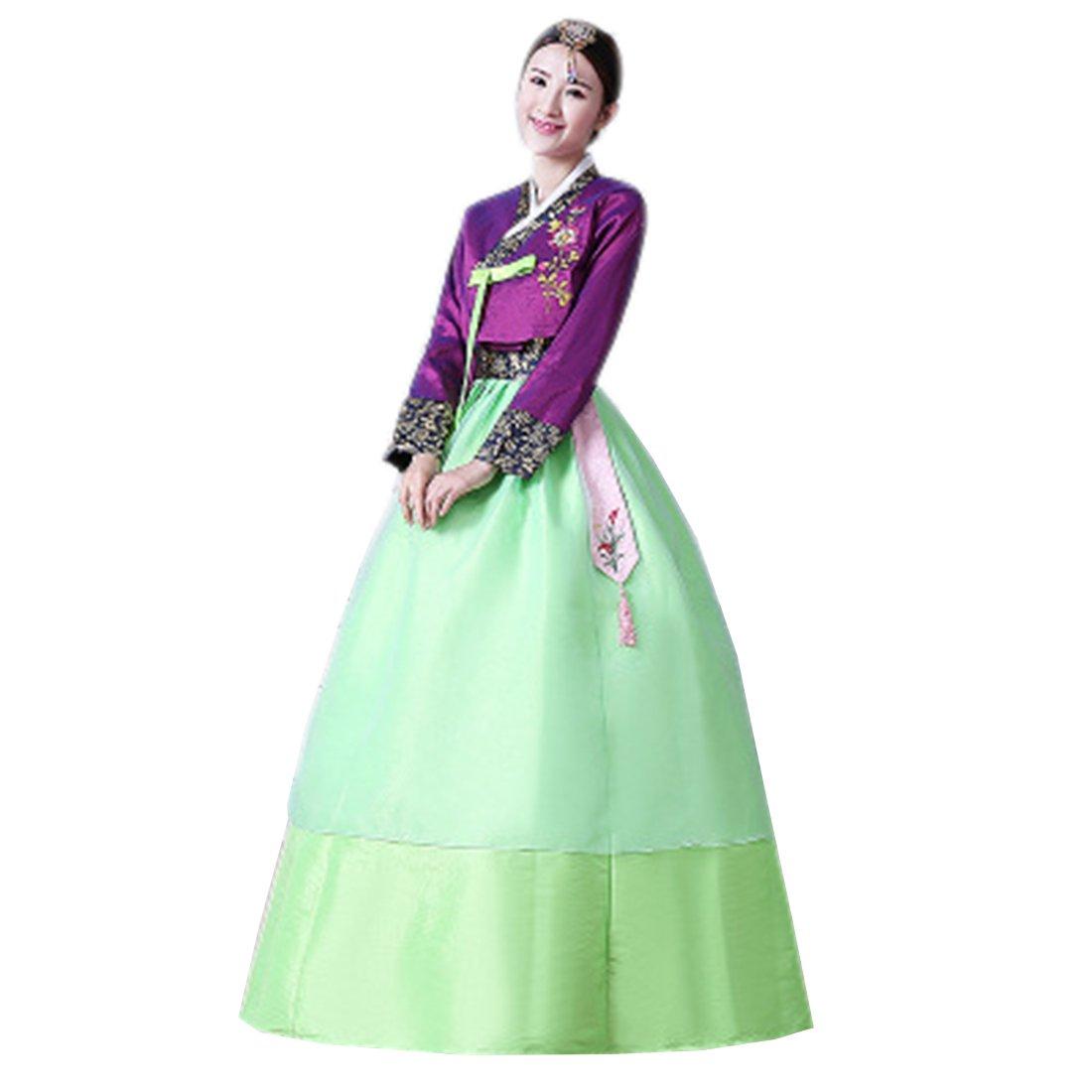 Ez-sofei Women's Korean Traditional Costumes Hanbok Dresses (L, Purple&Green)
