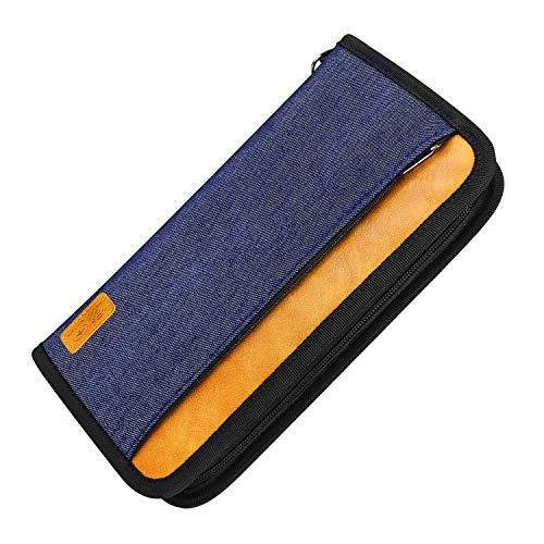 Family Travel Passport Holder Wallet RFID Blocking Document Tickets Organizer with Zipper for Woman & Man (Blue)