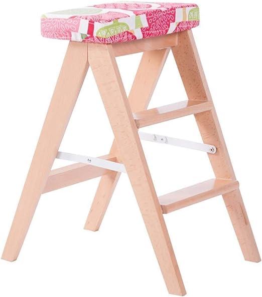 Escalera plegable plegable Walker heces / escalera de mano, de madera del asiento Escalera esponja roja Ampliado taburete comedor Herramienta for el jardín silla for uso intensivo duro Max 200 Kg: Amazon.es: