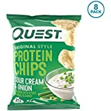 Quest Nutrition Protein Chips, Sour Cream & Onion, 21g Protein, 3g Net Carbs, 130 Cals, Low Carb, Gluten Free, Soy Free, Potato Free, Baked, 1.2oz Bag, 8 Count, Packaging May Vary