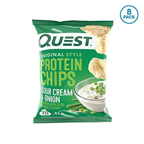 (Quest Nutrition Sour Cream & Onion Protein Chips, Low Carb, Gluten Free, Soy Free, Potato Free, Baked, 8 Count)
