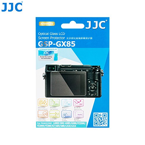 JJC Tempered Glass Screen Protector for Panasonic Lumix DMC-GX85/GX80, DMC-FZ2000/FZ2500, DMC-G7/DMC-FZ300, DMC- G80/G85, DMC-LX10/LX15, Ultra-Thin 0.3mm/9H Hardness/2.5D Round Edges