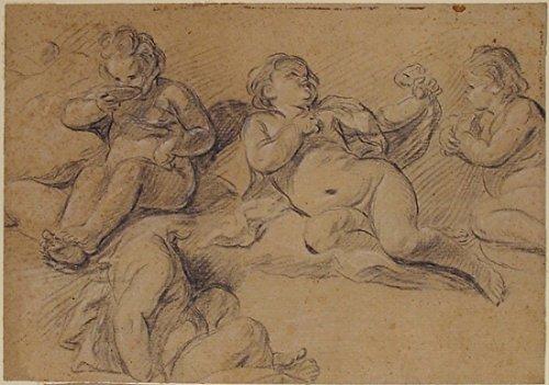 """Four Studies of a Nude Child Poster Print by Joseph François Parrocel (French Avignon 1704 """"1781 Paris) (18 x 24)"""