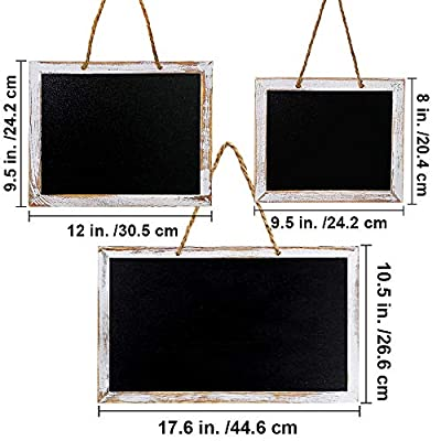 3 Pcs 3 Size Hanging Chalkboard Signs Rustic Framed Vintage Decorative Wooden Chalkboard Signs Farmhouse Wedding Door Chalkboard Signs Menu Memo Board Wall Blackboard for Back to School Birthday Party