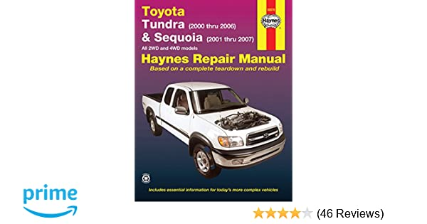 toyota tundra 2000 thru 2006 and sequioa 2001 thru 2007 haynes rh amazon com Haynes Manuals for 2003 Jeep Haynes Manual Pictures Back
