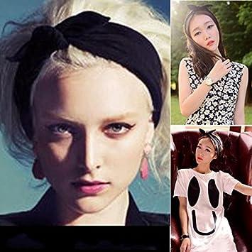 Frcolor Las mujeres diadema de orejas de conejo anudada arco venda moda banda de pelo (negro)