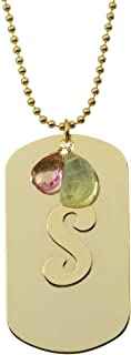 product image for a. v. max Letter S Gold-plated Dogtag Initial Necklace