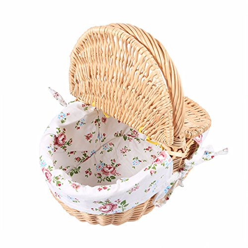 Wicker Basket Camping Picnic Storage Hamper Basket, With Cloth Liner, Double Lids And Handle.very Practical Durable To Use. (Goodie Hampers)