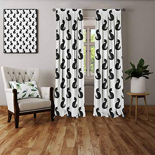 Halloween Window Silhouettes Cat Eyes (FOEYESEE Fabric Window Curtain Cat Silhouette of a Kitten Monochrome Feline Pattern House Pet Illustration Halloween Black White Boys Girls Bedroom Dorm W63)