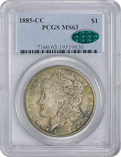 1885 CC Morgan Silver Dollar Pewter Toned Obverse w/Green Highlights MS63 PCGS/CAC (Toned Obverse)