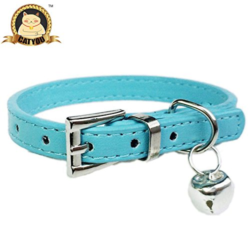 "CatYou Small Jingle Bell Leather Pet Collar for Cats Baby Puppies Dogs, Adjustable 8.5""-10.5"", Blue"
