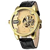 GOER Golden Bezel Two Time Zone Quartz Mechanical Sport Men's Automatic Watch - Golden