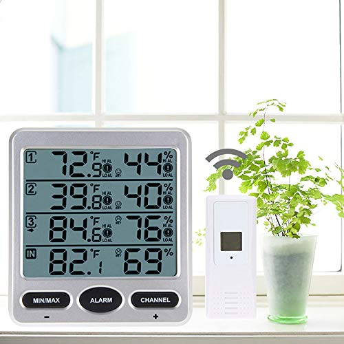 Portbale LCD Digital 433MHz Wireless 8-Channel Indoor/Outdoor Thermo-Hygrometer with Three Remote Sensors Thermometer Hygrometer