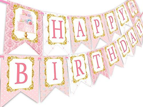 POP parties Tea Party Happy Birthday Banner Pennant - Cupcake Party Decorations - Tea Party Decorations ()