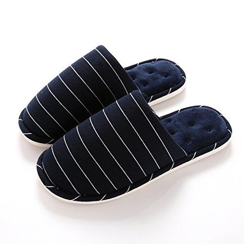 LaxBa Hommes Femmes tricoté coton Anti-Slip Chambre chaussons bleu marine37/38 (adapté aux 36-37 mètres dusure)