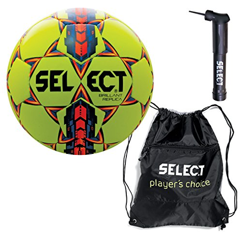 Select Brilliant Super Replica Soccer Ball with Sack Pack & Hand Pump, Yellow, Size 3 (Select Soccer Ball Brilliant)