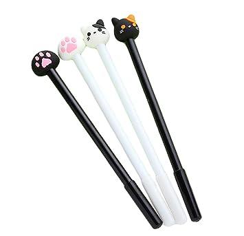 Bolígrafo de gel, bonito diseño de patas de gato y gato, bolígrafo negro de