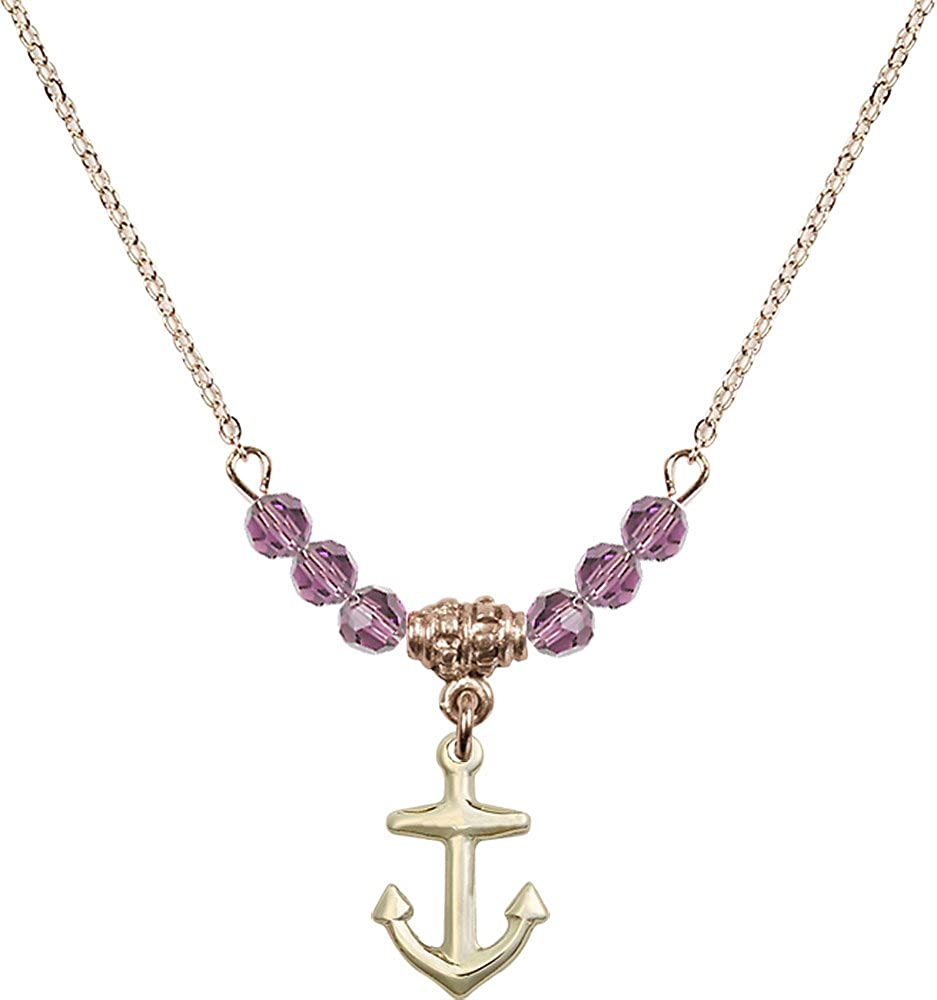 18-Inch Hamilton Gold Plated Necklace with 4mm Light Amethyst Birthstone Beads and Gold Filled Anchor Charm.